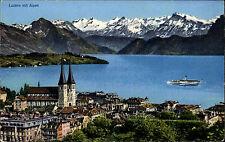 AK Carte Postale LUZERN mit Schiff auf dem See gelaufen Panorama Alpen Berge