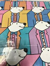 Vintage 80s cute preppy CURRENT wrapping gift wrap CORPORATE BEARS
