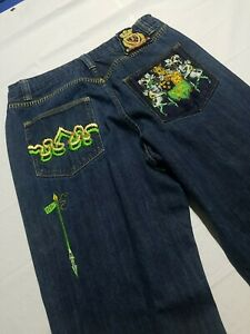 Crown Holder Jeans Men's Size 36x30 Blue Gold Stitch Embroidered