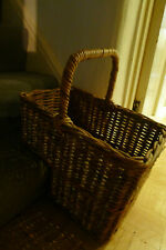 Vintage wicker stair step basket with handle. Large. 38cms by 30cms
