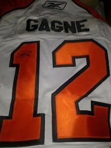 Autographed/Signed SIMON GAGNE Philadelphia White Large Hockey Jersey Auto