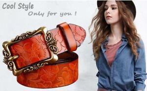Wide Genuine woman leather belt vintage Floral Cow skin belts Top quality UK