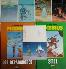 Lote 2 cómics de Los Mundos de Edena: Los Reparadores y Stel+5 postales MOEBIUS