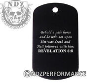 Dog Tag Military ID K9 Chain Silencer Laser Engraved BLK Bible Revelation 6:8