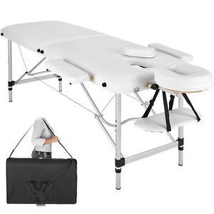 Lettino Massaggi Portatile Massaggio Alluminio Fisioterapia 2 zone bianco +Borsa