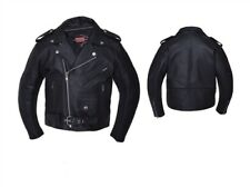 Kids  Classic Motorcycle Jacket - Black Leather - 12 - Boys Biker Coat - Childs
