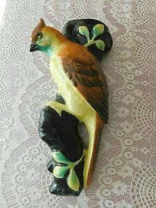 """VINTAGE ESTATE WALL POCKETS HAND PAINTED MADE IN JAPAN BIRD 9"""" LONG EUC"""