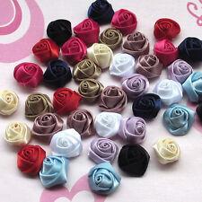 30pcs Lots Satin Ribbon Rose Bows Flowers DIY Craft Scrapbook Sewing Appliques