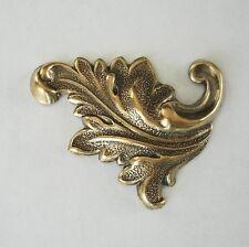 Scroll Jewelry Findings.(2 Pcs) 2-Ox Brass Stamping Leaf Flourish