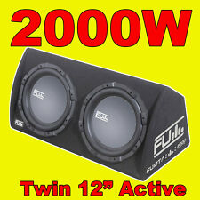 "FLI 12"" TWIN ACTIVE fu Auto Sub Box/SUBWOOFER + amplificatore/AMP COSTRUITO IN 2000W"