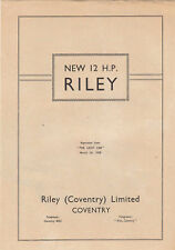 NEW 12H.P. RILEY  PERIOD OFFICIAL REPRINTED ARTICLE FROM THE LIGHT CAR