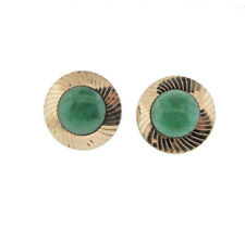 Vintage Green Peking Glass Cuff Links Gold Tone
