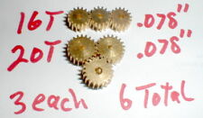 "6 Brass Slot Car Pinion Gears 3 16 Tooth Medium & 3 20 Tooth .078"" 48 Pitch Nos"