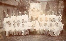 ST LEONARDS Banner Clergymen Choir Boys Unknown Location RP Postcard (160RP)
