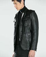ZARA Black Leather Jacket Blazer Man BNWT Authentic RRP £89.99 M L XL 0706318
