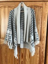 Monsoon Beige Aztec Tassel Poncho Knitted Cape Size M