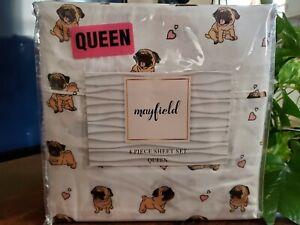 """New """"Mayfield"""" Pug Queen Pug sheet set"""