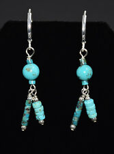 Natural Chinese Stormy Mountain Turquoise & Sterling Silver, Leverback Earrings