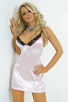 Leg Avenue 2pc Flower Lace Trimmed Satin Babydoll Thong Designer Lingerie Set XL