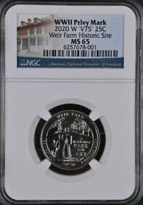 2020 W Weir Farm Historic Site NGC MS 65 - V75 WWII Privy Mark
