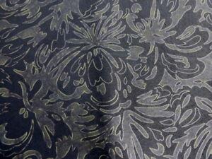 Pigskin leather suede hide Large Bronze on Black Floral Scroll Print 1.5oz