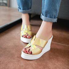 Glitter Womens Slip On Mule Sexy Sandals Peep Toe Slipper New Casual Gold Silver