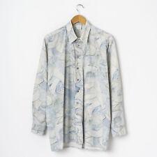 Vintage Herren Hemd Gemustert Gr L Large Abstrakt Retro Langarm Hemd