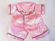 """The Bear Factory Brand 14"""" Build a Bear Outfit - Pink Silk Pajamas w/ Ruby Trim"""