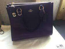 BNWT Coach Smooth Leather Crosby Carryall Satchel Crossbody Shoulder in PURPLE