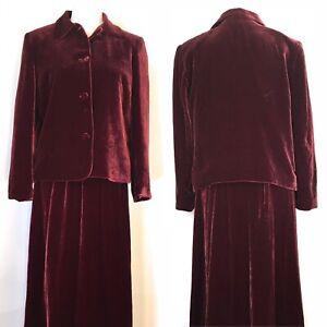 Talbots Skirt Set, Velour, Cranberry, Sz 8