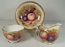 "Aynsley Orchard Gold Mini Creamer, Sugar Bowl & 4 3/4"" Plate Signed N Brunt"