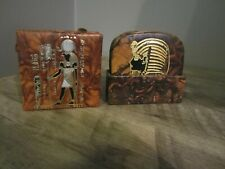 New listing Leather Embossed Match Box Holder And Box of 6 Coasters for Drinks