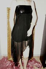 Chiffon Plissee Kleid *Abendkleid schwarz teil-unterfüttert Paillettenbüste S/M