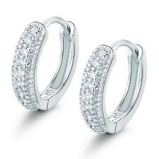 Vintage Ring Hoop Silver 18K White Gold Filled Paved Diamond Women Lady Earrings