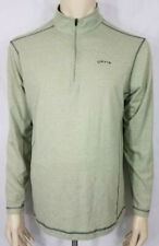 Orvis light green Polyester Cotton blend 1/4 zip pullover t-shirt mens Large