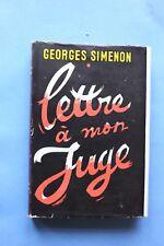 Edition Originale SIMENON 1947 Lettre a Mon Juge avec sa jaquette couleur