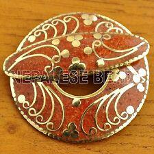 CL390 Tibetan Nepalese Handmade Coral Brass Toggle Clasp Eksha Limbu