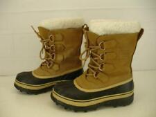 Womens sz 6 M Sorel Caribou Boots Buff Tan Leather Winter Waterproof Wool Liners