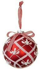 "6"" Ball Glitter Patterned Ornament Red Glass Christmas Decor by RAZ Imports"