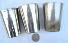 3 old small metal tumblers/drinking glasses - fit inside each other early 1900's