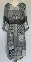 Autograph Size 14 Casual Black White Boho Geometric Print Lace Bell Sleeve Dress