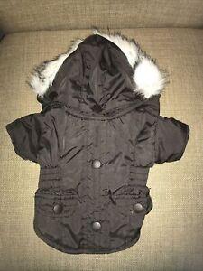 Dog Brown Parka Coat Jacket Removable Faux Fur Trim Hood XXS