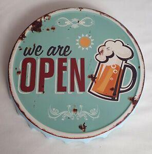Blechschild Kronkorken Bier Beer we are open Metall Wanddeko