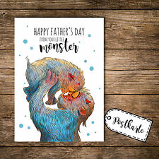 A6 Postkarte Vatertag Print Monster Punkte und Spruch happy father's day pk109