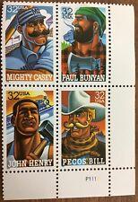 Scott 3083-86 4 block-32¢ Folk Heroes Postage stamps Casey Bunyan Henry Bill