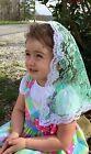 Light Green child veil mantilla Catholic church chapel lace headcovering Mass R