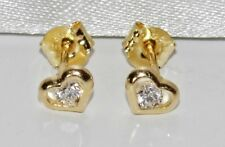9ct Gold 0.10ct Heart Shaped Solitaire Stud Earrings