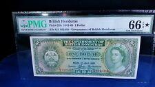 BRITISH HONDURAS 1967 1 DOLLAR p-28b GEM UNC PMG 66 EPQ STAR NOTE !