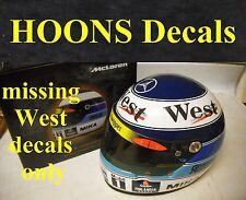 1/2 Peel & Stick Vinyl Decals 1998 Mika Hakkinen World Champion F1 Helmet