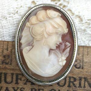 Antique Vintage Art Deco Shell Cameo Pin Brooch Pendant 800 Italian Silver Italy
